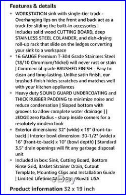 Ruvati Rvh8300 Undermount 16 Gauge 32 Ledge Single Bowl Sink Stainles Steel New
