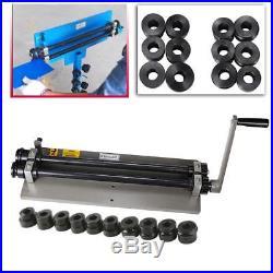 Sheet Metal Bead Roller Steel Gear Drive Bench Mount 18-Gauge Capacity with 6 Dies