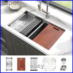 Sinber 33 16 Gauge 304 Stainless Steel Double Bowl Undermount Kitchen SInk 8PCS