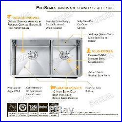 Sokal 33X19X10 16 Gauge Double Bowls Stainless Steel Undermount Kitchen Sinks