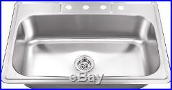 Soleil 20 Gauge Stainless Steel 33 x 22 Drop-In Kitchen Sink