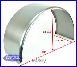 Steel Round Utility Trailer Fender 13 x 36 x 20 Single Axle 16 Gauge 16 Tire