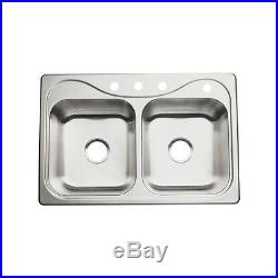 Sterling 11402-4-NA Stainless Steel 8 Double Basin Bowl Kitchen Sink 20 Gauge