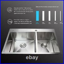 Top Mount Kitchen Sinks 14 Gauge 304 Stainless Steel Dual Basin 33x22x9'' WLF