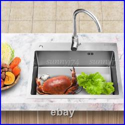 Top Mount Stainless Steel Kitchen Sink 2-Hole Handmade 16 Gauge Drain 29.5 in