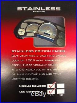 US Speedo Stainless Steel Gauge Face Kit Blue Numbers & Matching Needles SSGM01B