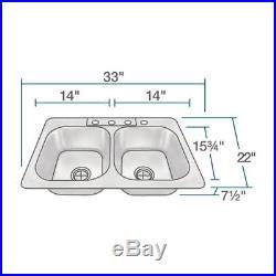 US1022T 20 Gauge Topmount Double Equal Bowl Stainless Steel Sink