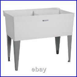 Utility Sink Laundry Tub Floor Mount Co-Polypure Heavy Gauge Steel Legs Ourdoor