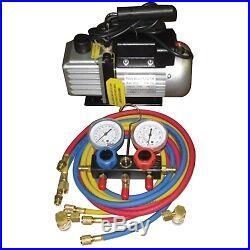 Vacuum Pump and Manifold Gauge Set FJCKIT6 Brand New