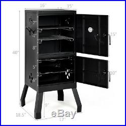Vertical Charcoal Smoker BBQ Barbecue Grill with Temperature Gauge Outdoor Black