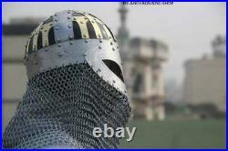 Viking Helmet SCA LARP Medival Helmet 18 gauge steel and brass Helmet