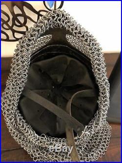Viking Helmet Vendal SCA LARP 16 gauge steel and brass Helmet With Chainmail