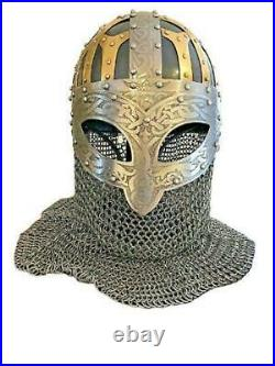 Viking Helmet Vendel Sca Larp Helmet 18 gauge steel and Brass Helmet Replica