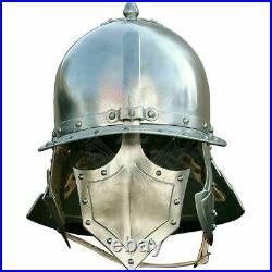 Vintage 18 gauge Steel Medieval Pappenheimer Helmet Halloween Costume