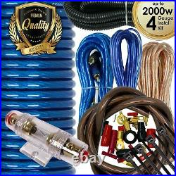 X-Brand True 4 Gauge Amp Kit Amplifier Install Wiring 4 Ga Wire Cable 2000W Blue
