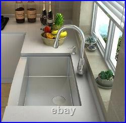ZUHNE Single Bowl Farmhouse Apron Front 16 Gauge Stainless Steel Kitchen Sink